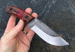 Custom Hand Made Fixed Blade with Ironwood and red acrylic Hybrid Scales