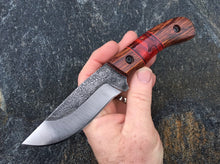 Load image into Gallery viewer, Custom Hand Made Fixed Blade with Ironwood and red acrylic Hybrid Scales