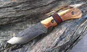 Custom Hand Made Fixed Blade with Light and Dark wood Hybrid Scales