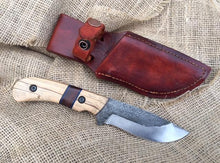 Load image into Gallery viewer, Custom Hand Made Fixed Blade with Light and Dark wood Hybrid Scales