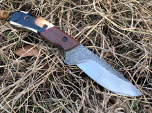 Load image into Gallery viewer, Custom Hand Made Fixed Blade with Woolly Mammoth Segmented Hybrid Scales