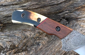 Custom Hand Made Fixed Blade with Woolly Mammoth Segmented Hybrid Scales