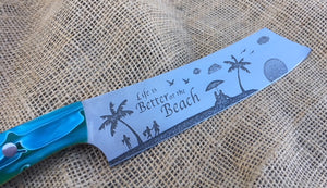 Life is Better on the Beach Buccaneer style Nautical Themed Chef Knife