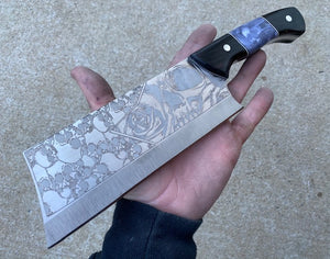 Skull Themed Modified Cleaver Chef Knife