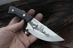 Custom Two Tone Etched Hunting Knife