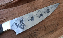 Load image into Gallery viewer, Horse theme Custom Hand made Chef Knife. Functional metal art by Berg Knifemaking
