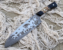 Load image into Gallery viewer, Sea Turtle and Coral Underwater Themed Custom Hand Made Chef Knife