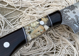 Sea Turtle and Coral Underwater Themed Custom Hand Made Chef Knife