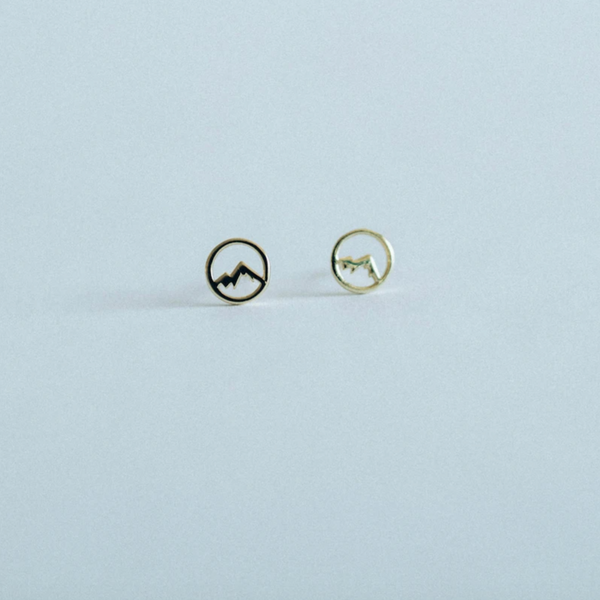 studs, stud earrings, earring, earrings, mountain stud earrings, mountain studs, gold, gold earring, gold earrings, adventurous soul, adventurous, adventure, nature, hiking, outdoor lover, jewelry, gold jewelry