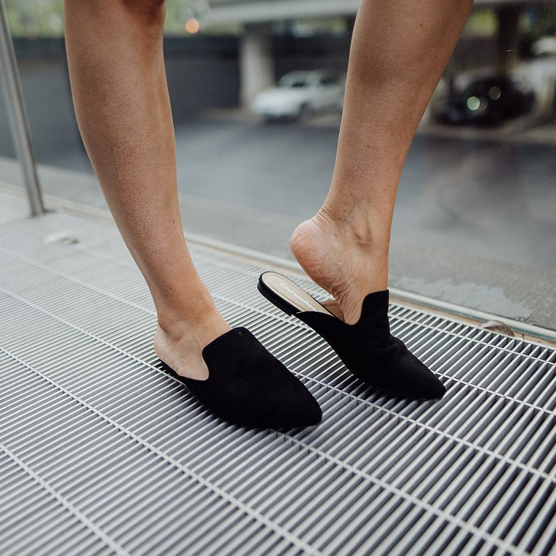 The Black Suede Mule