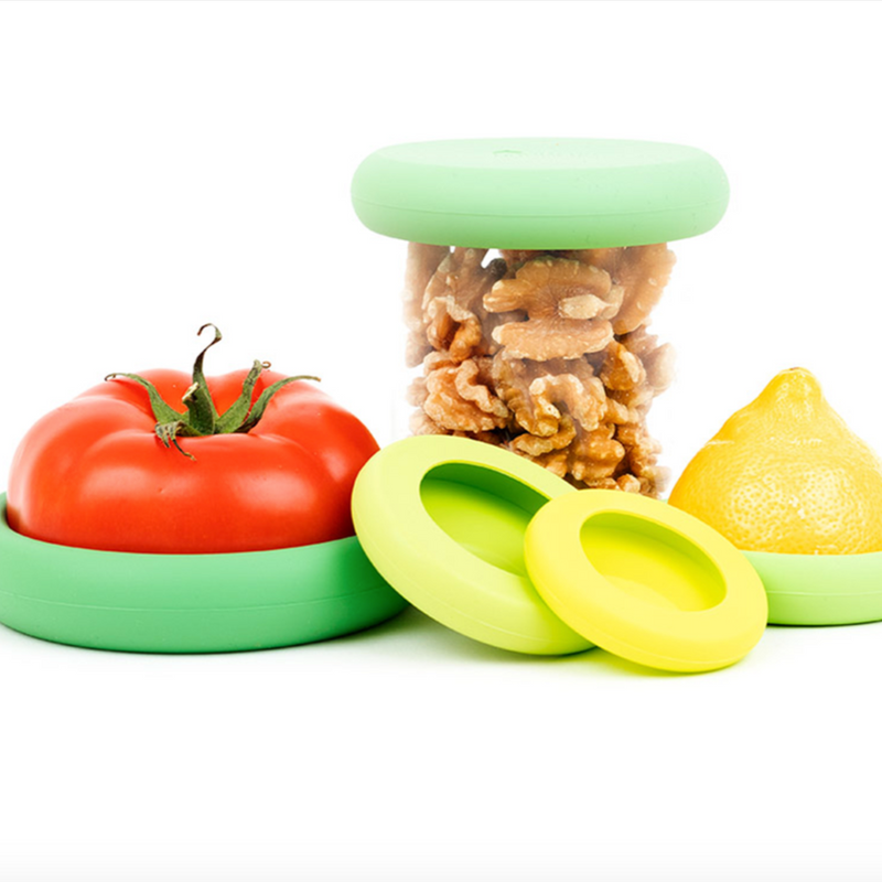 food huggers, kitchen, kitchen supplies, fruits, vegetables, cans, jars, silicone, reduce waste, eco friendly, environmentally friendly, sustainable, sustainable products