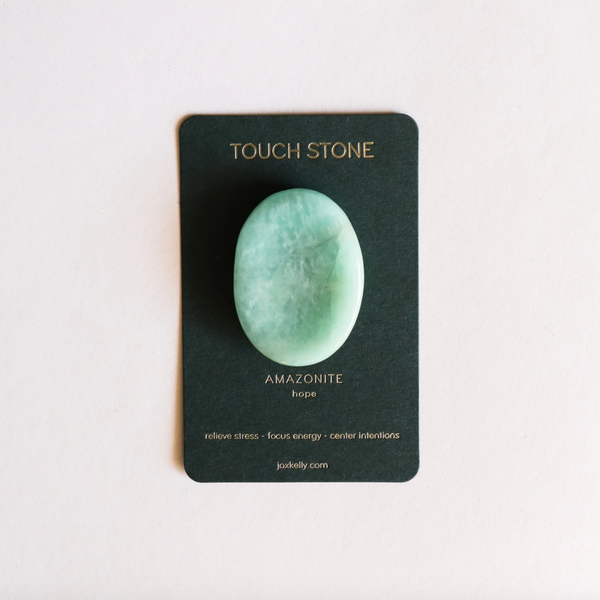 amazonite, amazonite touch stone, touch stone, relieve stress, hope, focus energy, center intentions, teal, crystal, natural crystal, throat chakra, heart chakra, optimism, problem solving