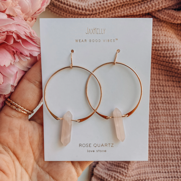 rose quartz, love, love stone, rose, quartz, rose quartz earring, earring, earrings, statement earrings, gold, gold earrings, jax kelley, good vibes, wear good vibes, stone, hoop, hoops, hoop earring, delicate, dainty, pink, soft pink, light pink
