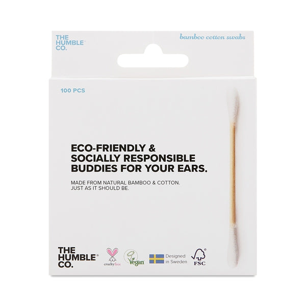 cotton swab, ear, face, smooth, bamboo, sustainable, eco-friendly, biodegradable, natural, all natural, cruelty-free, cruelty-free product, the humble co, bamboo cotton swab