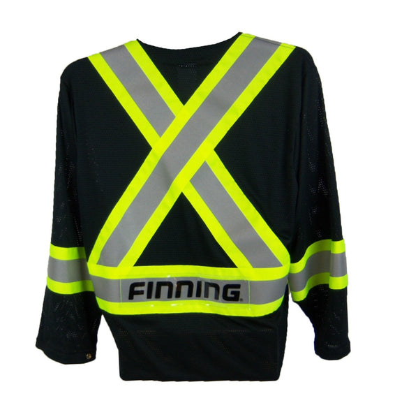 OVER2030.1 Black Mesh Jacket CSA Z96-15 Class 1 Level 2, WorkSafeBC Type 3 Affixed