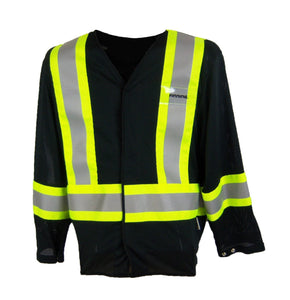 OVER2035 Black Mesh Jacket with front pockets, CSA Z96-15 Class 1 Level 2, WorkSafeBC Type 3 Affixed