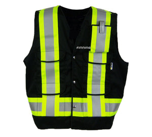 VEST1270.2 - Black Surveyor Style Vest w/pockets, CSA Z96-15, Class 1 Level 2, WorkSafeBC Type 3 Affixed