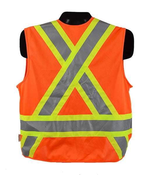 VEST1321.1 - High Visibility Traffic Safety Vest, CSA Z96-15 Class 2 Level 2, WorkSafeBC Type 1 (Fluorescent Orange or Lime Yellow)