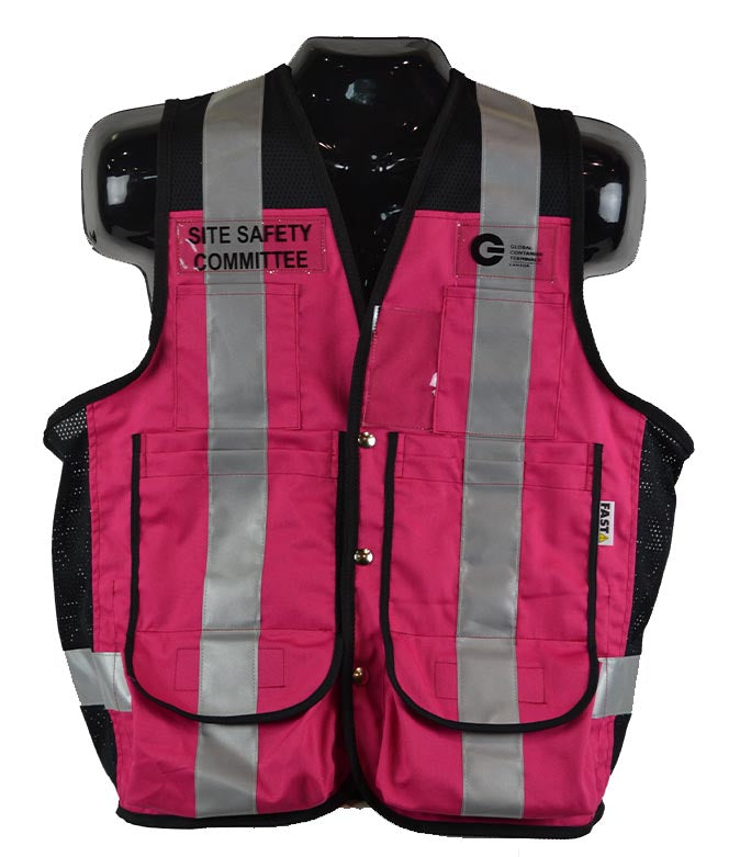 VEST6010.10 - Custom Identification Vest w/pockets & silver reflective