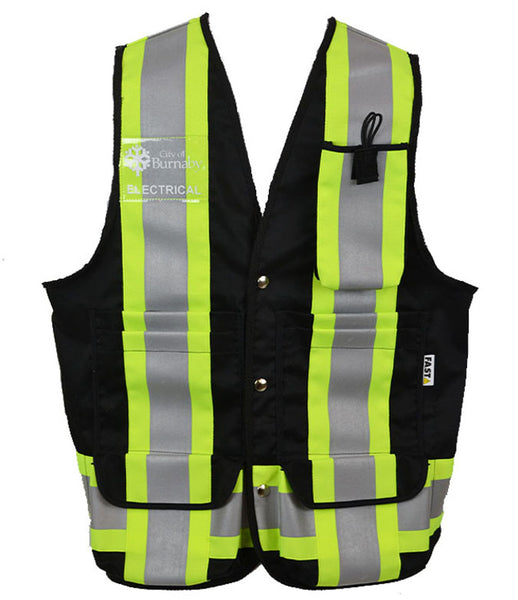 VEST6050.1 - Black Deluxe Surveyor-Style Vest, CSA Z96-15 Class 1 Level 2, WorkSafeBC Type 3 Affixed