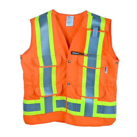 VEST1270.2 - Surveyor Style Safety Vest w/pockets, Z96-15 Class 2 Level 2, WorkSafeBC Type 1 (Fluorescent Orange or Lime Yellow)