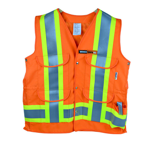 VEST1270 - Surveyor Style Safety Vest w/mesh back yoke & side panels, CSA Z96-15 Class 2 Level 2, WorkSafeBC Type 1 (Fluorescent Orange or Lime Yellow)