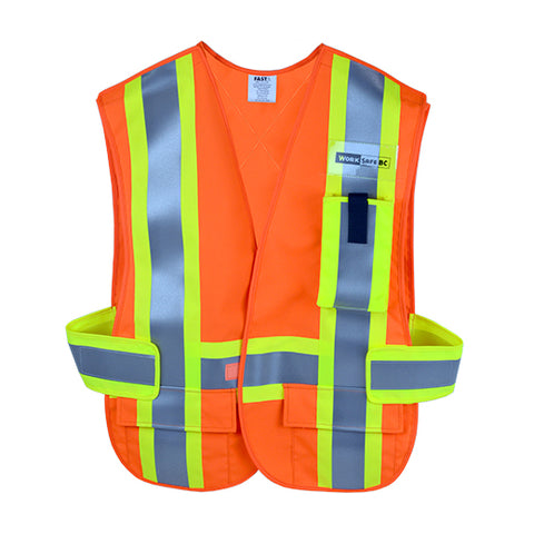 VEST2020 - Traffic Safety Vest w/Pockets, CSA Z96-15 Class 2 Level 2, WorkSafeBC Type 1 (Fluorescent Orange)