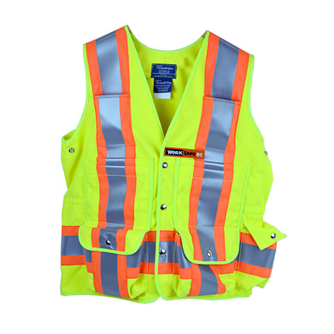 VEST6050.3FR  Flame Resistant (FR) Deluxe Surveyor Safety Vest, CSA Z96-15 Class 2 Level 2, WorkSafeBC Type 1 (Fluorescent Lime Yellow)