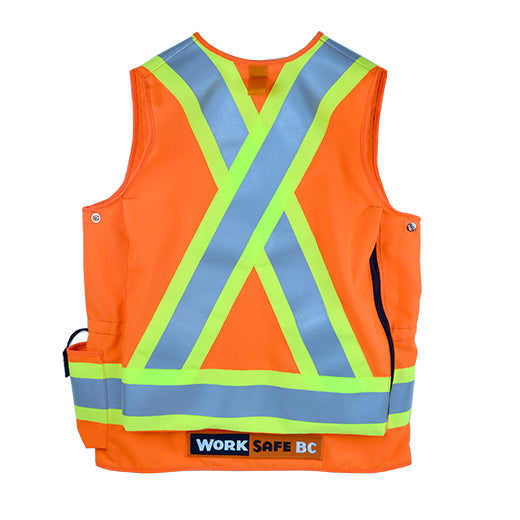 VEST6050.3 Deluxe Surveyor Safety Vest, CSA Z96-15 Class 2 Level 2, WorkSafeBC Type 1 (Fluorescent Orange or Lime Yellow)