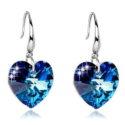 Alloy Faux Sapphire Heart Earrings - DERNIER CRI