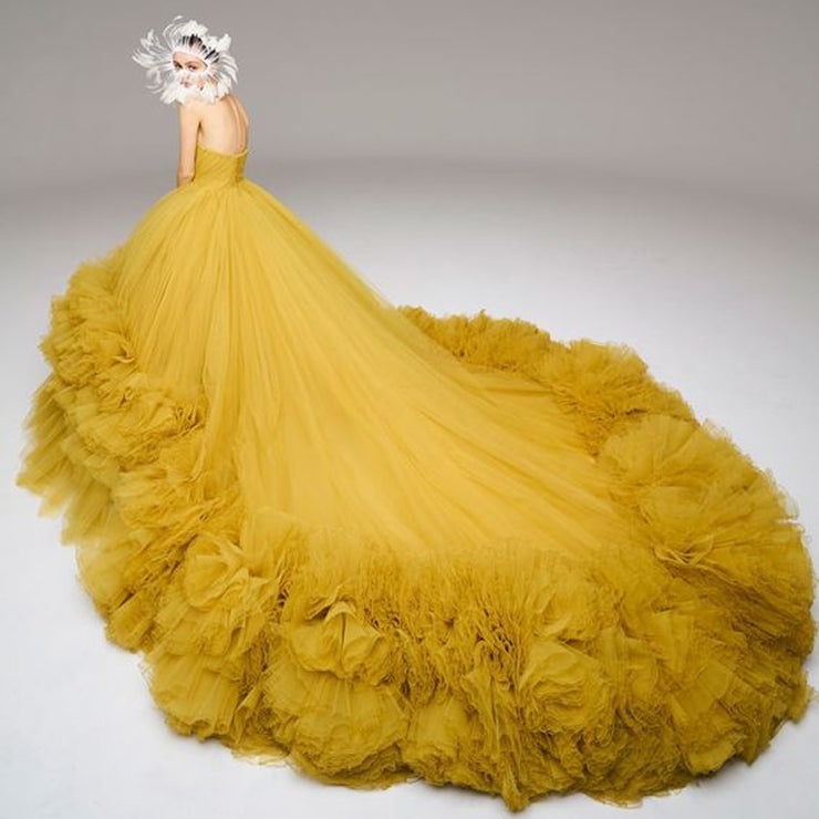 Gorgeous Gold Very Puffy Tulle Ball Gowns