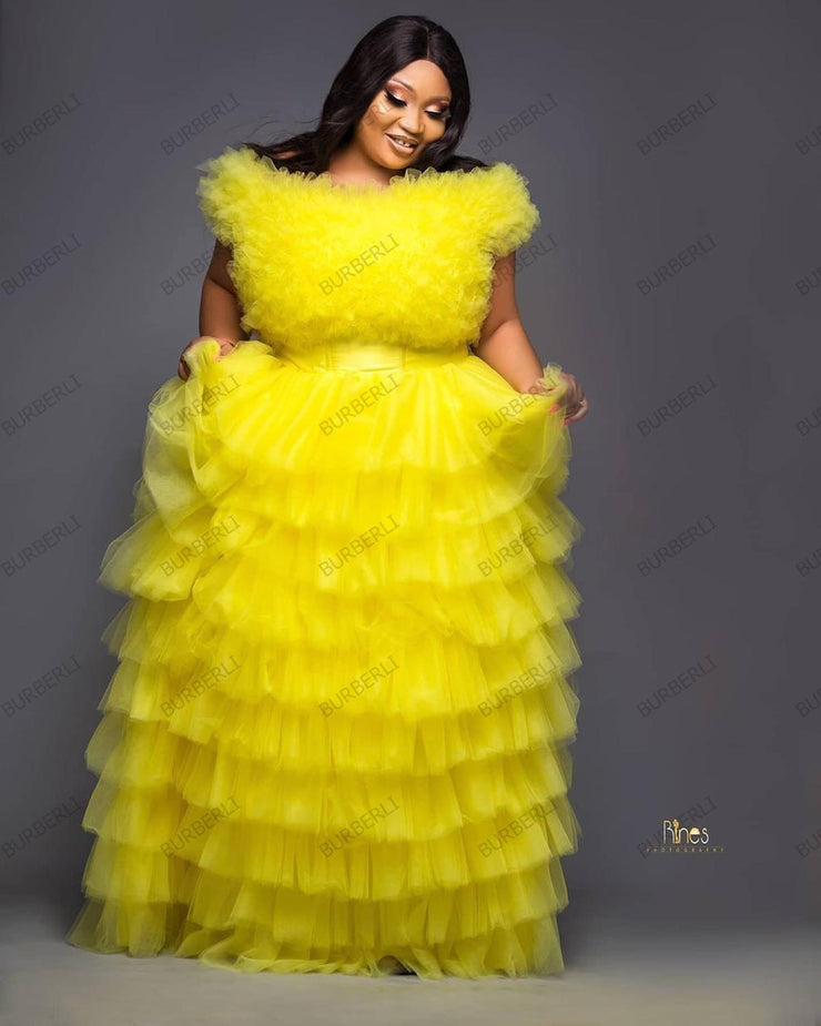 Two Piece Multilayer Tulle Gown