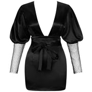 Deep V Neck Mesh Sleeves Backless Dress- Black - DERNIER CRI