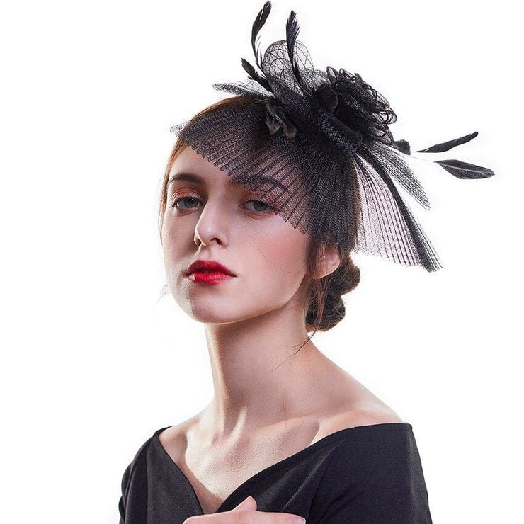 Black Fascinator with Feathers and Striped Veil - DERNIER CRI