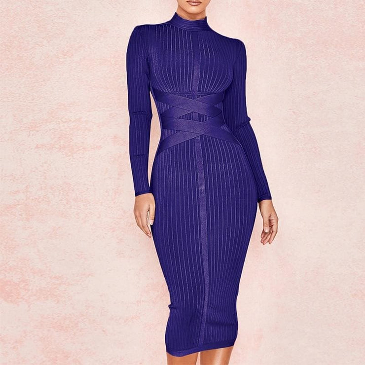 High Neck Long Sleeve Bandage Dress - DERNIER CRI