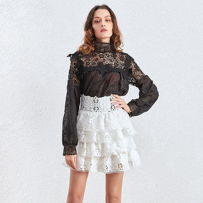 High Waist Lace Skirt - DERNIER CRI