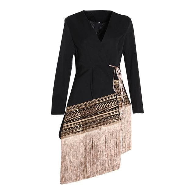 Long Sleeved Tassel Coat - DERNIER CRI