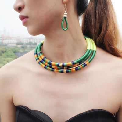 Multilayer Choker Necklace and Earrings Set - DERNIER CRI