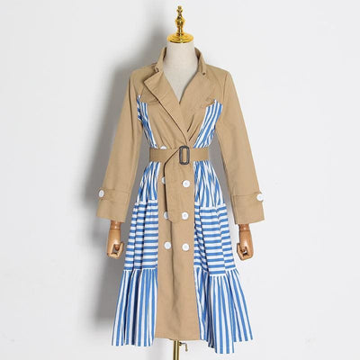 Patchwork Striped Trench Coat - DERNIER CRI