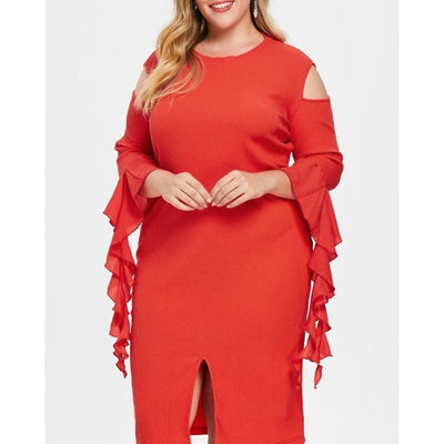 Plus Size Knitted Cold Shoulder Dress - DERNIER CRI