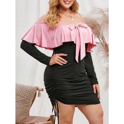 Plus Size Ruffle Open Shoulder Cinched Dress - DERNIER CRI