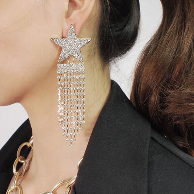 Rhinestones Star Long Earrings - DERNIER CRI