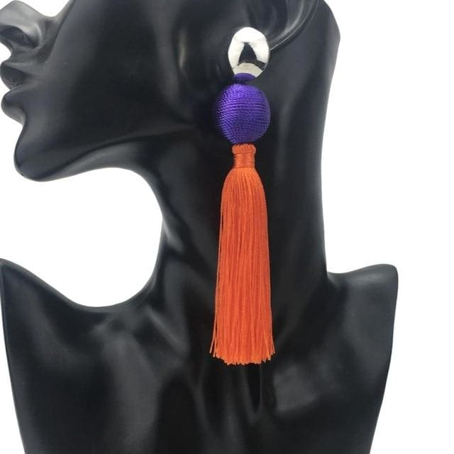Two Tone Cotton Tassels Earrings - DERNIER CRI