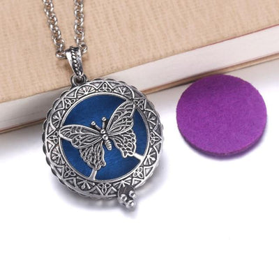 Aroma Diffuser Pendant Necklace With Pads, Butterfly - DERNIER CRI