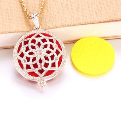 Aroma Diffuser Pendant Necklace With Pads, Metal colour - FLOWER - DERNIER CRI