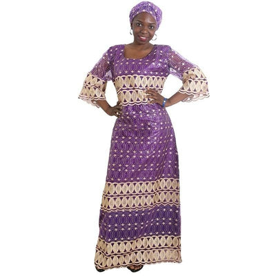 Warri Emboidery Dress with Headwrap - DERNIER CRI
