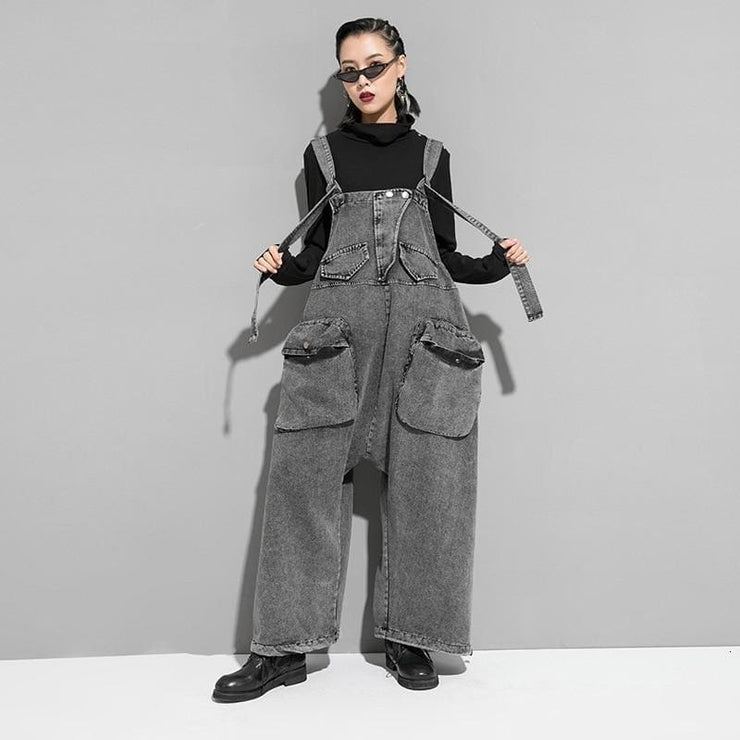 Wide Leg Denim Overall Jumpsuit - DERNIER CRI