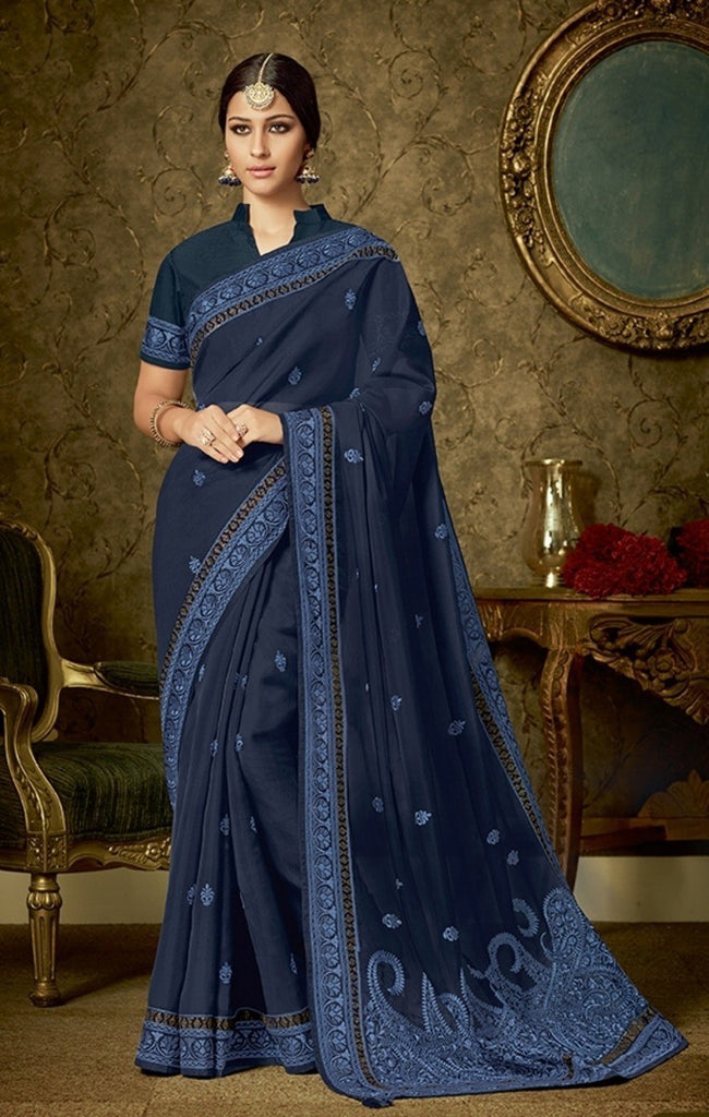 Organza Raw Silk Saree With Blouse