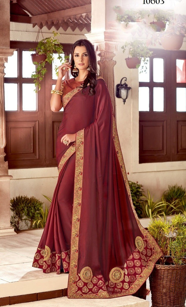 Maryam - Dual Tone Silk Embroidery Saree With Blouse