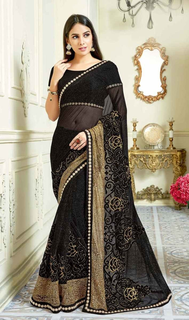 Net Lycra Weding Saree With Blouse